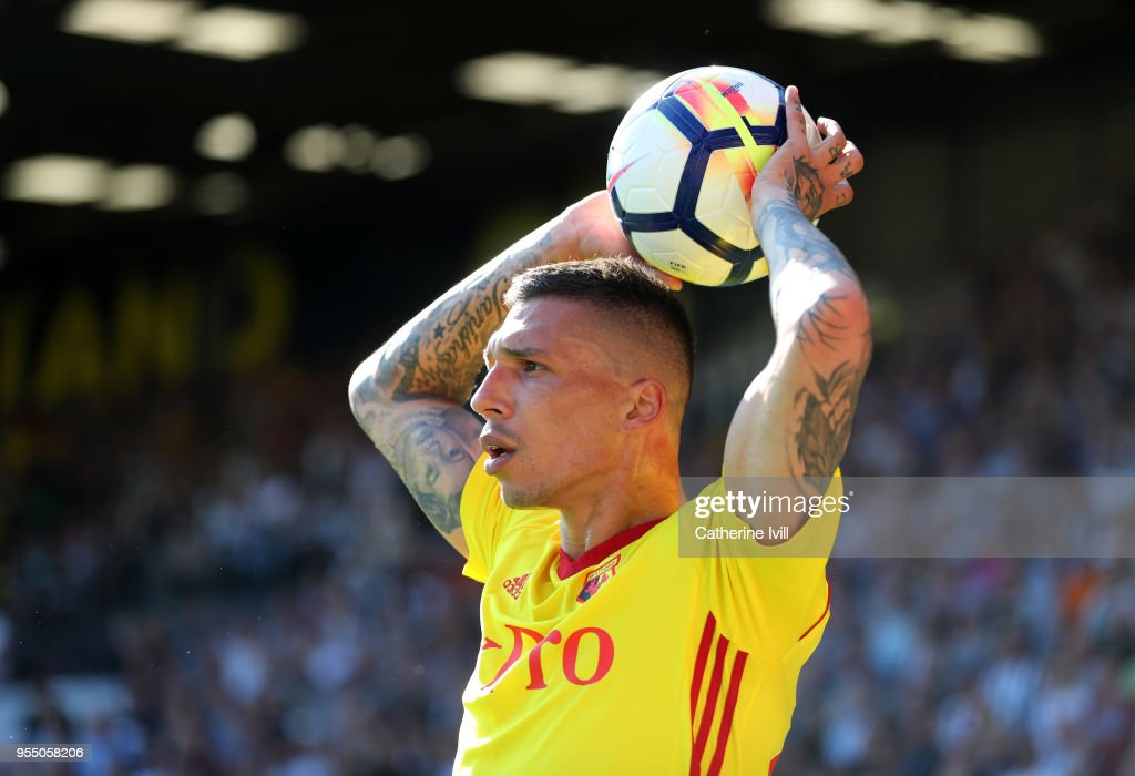 Jose Holebas of Watford during the Premier League match between Watford and Newcastle United at Vicarage Road on May 5, 2018 in Watford, England.