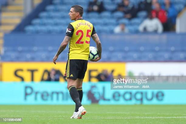 Jose Holebas of Watford during the Premier League match between Burnley FC and Watford FC at Turf Moor on August 19 2018 in Burnley United Kingdom
