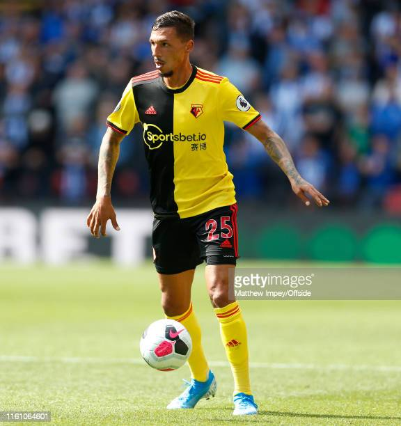 Jose Holebas of Watford during the Premier League match between Watford FC and Brighton & Hove Albion at Vicarage Road on August 10, 2019 in Watford,...