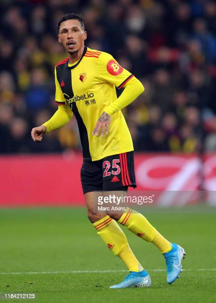 Jose Holebas of Watford during the Premier League match between Watford FC and Burnley FC at Vicarage Road on November 23, 2019 in Watford, United...