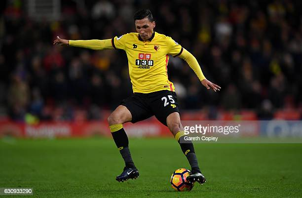 Jose Holebas of Watford during the Premier League match between Stoke City and Watford at Bet365 Stadium on January 3 2017 in Stoke on Trent England