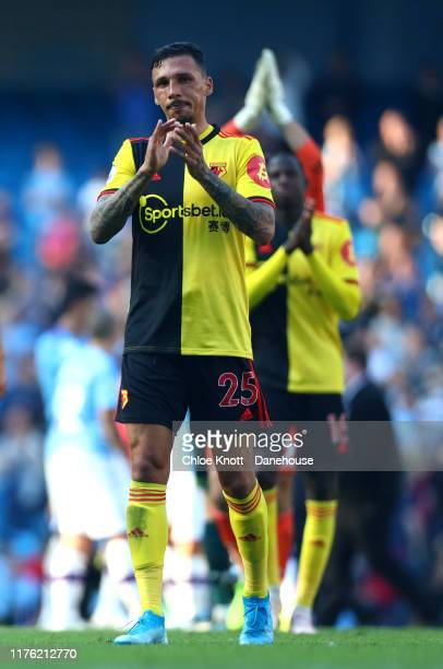 Jose Holebas of Watford FC applauds the fans after loosing during the Premier League match between Manchester City and Watford FC at Etihad Stadium...