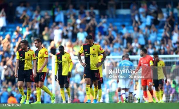 Jose Holebas of Watford FC looks dejected after loosing during the Premier League match between Manchester City and Watford FC at Etihad Stadium on...