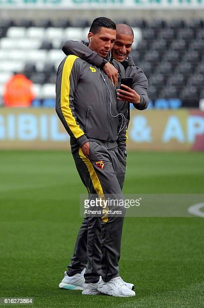 Jose Holebas of Watford has a selfie taken with a team mate prior to the Premier League match between Swansea City and Watford at The Liberty Stadium...