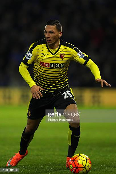 Jose Holebas of Watford in action during the Barclays Premier League match between Watford and Leicester City at Vicarage Road on March 5 2016 in...