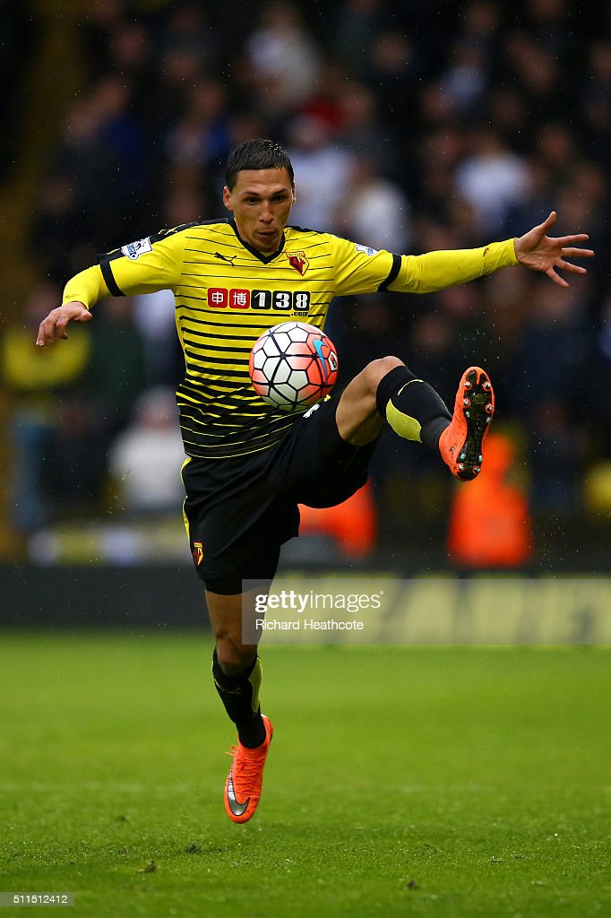 Jose Holebas of Watford in action during The Emirates FA Cup Fifth Round match between Watford and Leeds United at Vicarage Road on February 20, 2016 in Watford, England.