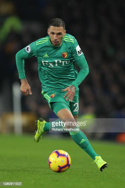 Jose Holebas of Watford in action during the Premier League match between Everton FC and Watford FC at Goodison Park on December 10 2018 in Liverpool...