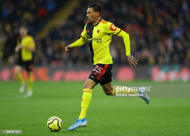 Jose Holebas of Watford in action during the Premier League match between Watford FC and Burnley FC at Vicarage Road on November 23, 2019 in Watford,...