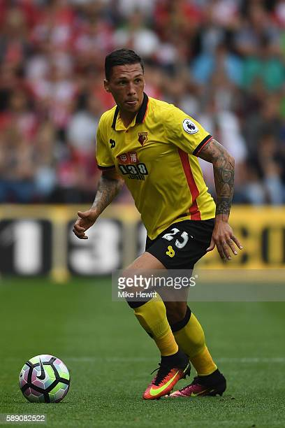 Jose Holebas of Watford in action during the Premier League match between Southampton and Watford at St Mary's Stadium on August 13 2016 in...