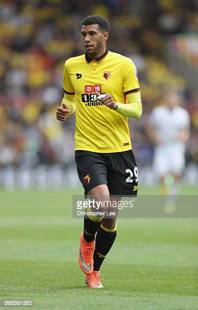 Jose Holebas of Watford in action during the Premier League match between Watford and Chelsea at Vicarage Road on August 20 2016 in Watford England
