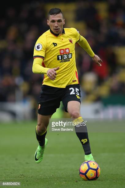 Jose Holebas of Watford in action during the Premier League match between Watford and Southampton at Vicarage Road on March 4 2017 in Watford England
