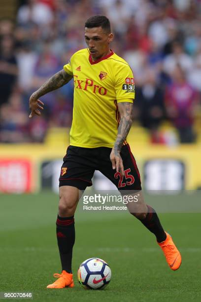 Jose Holebas of Watford in action during the Premier League match between Watford and Crystal Palace at Vicarage Road on April 21 2018 in Watford...