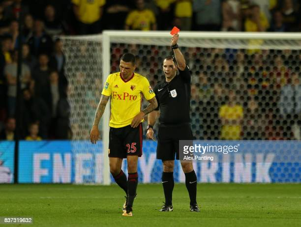 Jose Holebas of Watford is shown a red card during the Carabao Cup Second Round match between Watford and Bristol City at Vicarage Road on August 22...
