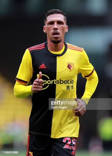 Jose Holebas of Watford looks on during the Pre-Season Friendly match between Watford and Real Sociedad at Vicarage Road on August 03, 2019 in...