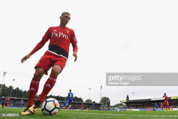 Jose Holebas of Watford looks on during the preseason friendly match between AFC Wimbledon and Watford at The Cherry Red Records Stadium on July 15...