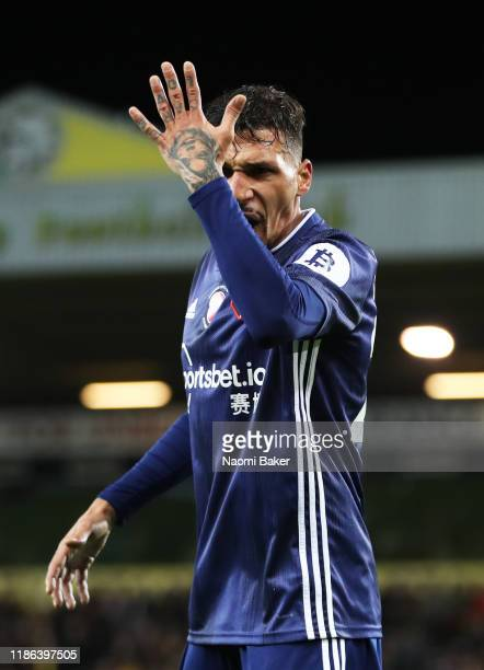 Jose Holebas of Watford reacts during the Premier League match between Norwich City and Watford FC at Carrow Road on November 08 2019 in Norwich...