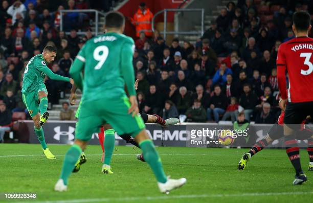 Jose Holebas of Watford scores his team's first goal during the Premier League match between Southampton FC and Watford FC at St Mary's Stadium on...