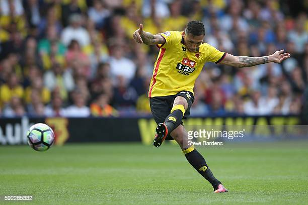 Jose Holebas of Watford shoots during the Premier League match between Watford and Chelsea at Vicarage Road on August 20 2016 in Watford England