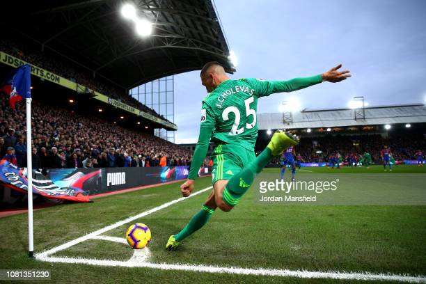 Jose Holebas of Watford takes a corner during the Premier League match between Crystal Palace and Watford FC at Selhurst Park on January 12, 2019 in...