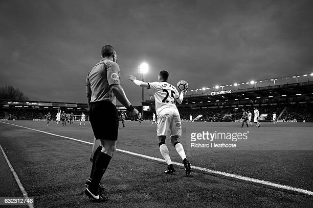 Jose Holebas of Watford takes a throw in during the Premier League match between AFC Bournemouth and Watford at Vitality Stadium on January 21 2017...