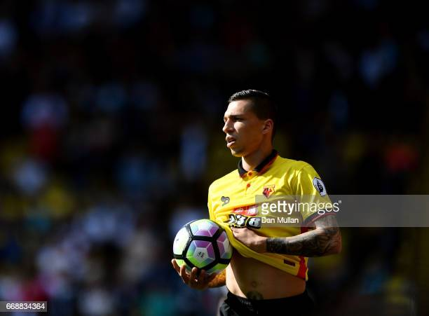 Jose Holebas of Watford takes a throw in during the Premier League match between Watford and Swansea City at Vicarage Road on April 15 2017 in...