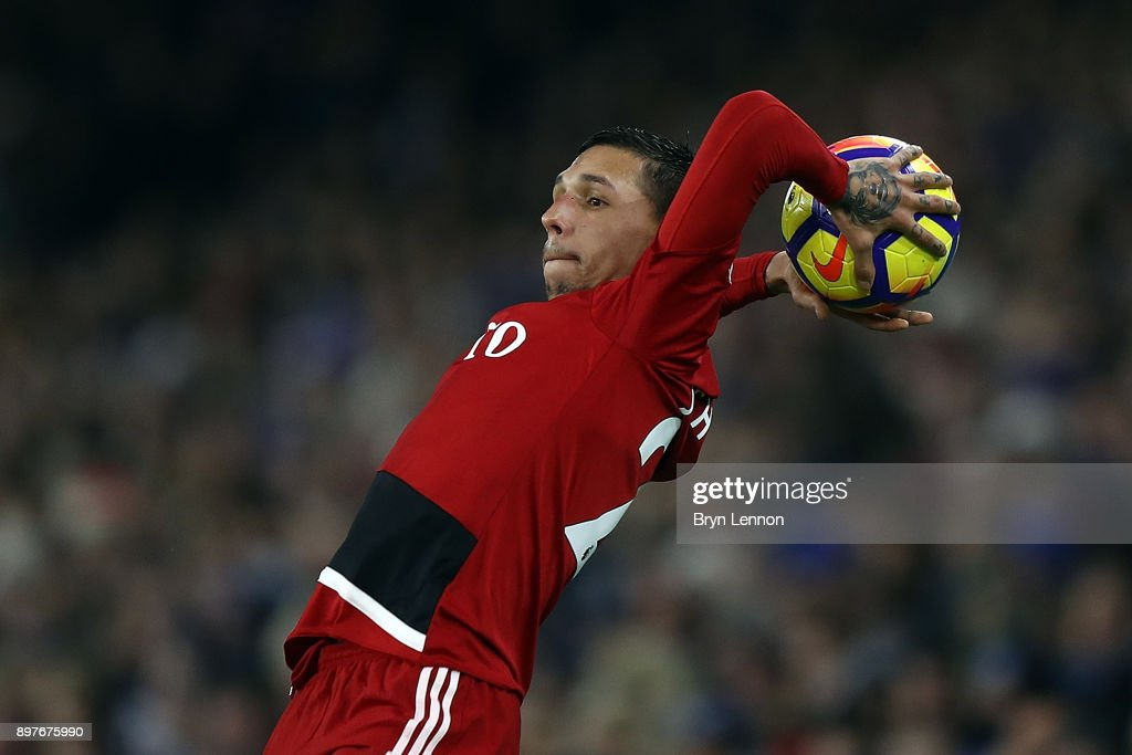 Jose Holebas of Watford takes a throw in during the Premier League match between Brighton and Hove Albion and Watford at Amex Stadium on December 23, 2017 in Brighton, England.