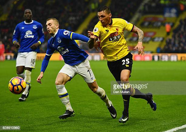 Jose Holebas of Watford takes on Gerard Deulofeu of Everton during the Premier League match between Watford and Everton at Vicarage Road on December...