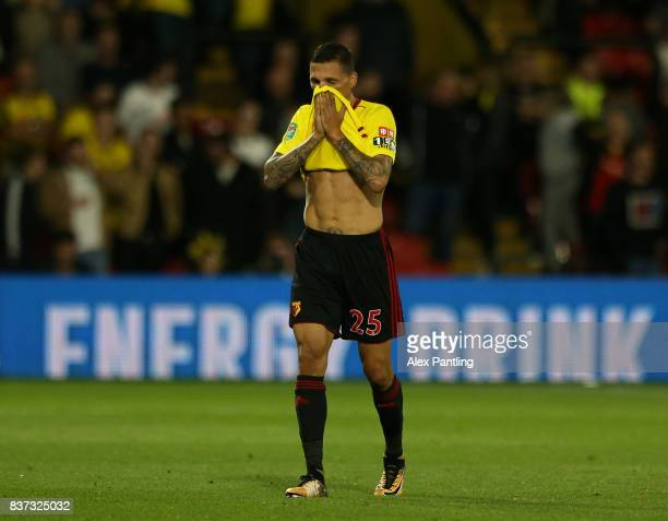 Jose Holebas of Watford walks off after being shown a red card during the Carabao Cup Second Round match between Watford and Bristol City at Vicarage...