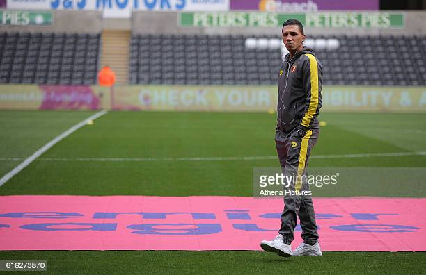 Jose Holebas of Watford walks onto the pitch prior to the Premier League match between Swansea City and Watford at The Liberty Stadium on October 22...