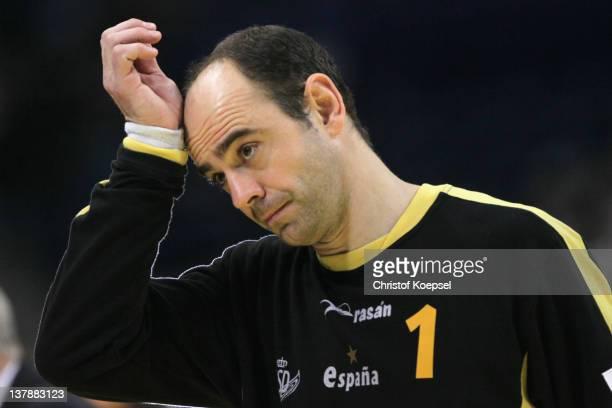 Jose Hombrados of Spain looks dejected after the Men's European Handball Championship bronze medal match between Croatia and Spain at Beogradska...