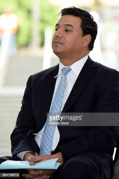 Jose Huizar attends the Opening of the New Pedestrian Passageway at The Bloc on February 7 2017 in Los Angeles California