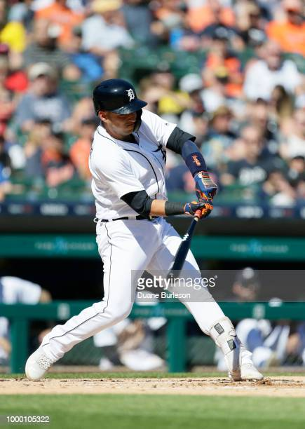 Jose Iglesias of the Detroit Tigers bats against the Texas Rangers at Comerica Park on July 7 2018 in Detroit Michigan