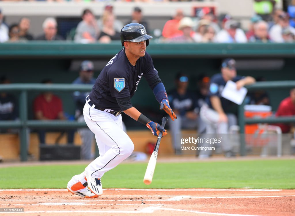 Jose Iglesias #1 of the Detroit Tigers bats during the Spring Training game against the Atlanta Braves at Publix Field at Joker Marchant Stadium on March 1, 2018 in Lakeland, Florida. The Braves defeated the Tigers 5-2.