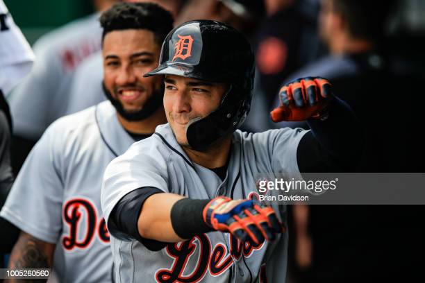 Jose Iglesias of the Detroit Tigers celebrates hitting a three run home run during the fourth inning agianst the Kansas City Royals at Kauffman...