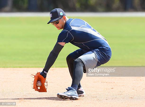 Jose Iglesias of the Detroit Tigers fields a ground ball during the Spring Training workout day at the TigerTown Facility on February 19 2016 in...