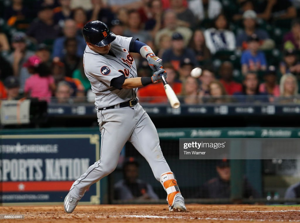 Jose Iglesias #1 of the Detroit Tigers hits a home run in the ninth inning against the Houston Astros at Minute Maid Park on May 24, 2017 in Houston, Texas.