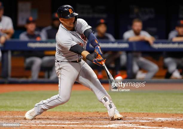 Jose Iglesias of the Detroit Tigers hits a twoRBI double in the seventh inning of a baseball game against the Tampa Bay Rays at Tropicana Field on...