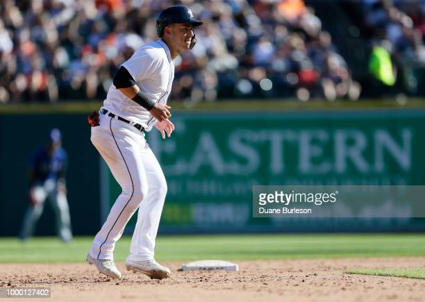Jose Iglesias of the Detroit Tigers leads off second base during a game against the Texas Rangers at Comerica Park on July 7 2018 in Detroit Michigan