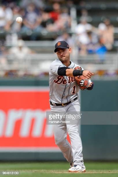 Jose Iglesias of the Detroit Tigers makes a play at shortstop against the Minnesota Twins during the game on May 23 2018 at Target Field in...