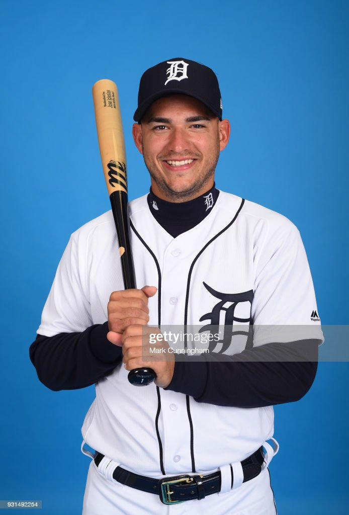 Jose Iglesias #1 of the Detroit Tigers poses for a photo during photo day on February 20, 2018 in Lakeland, Florida.