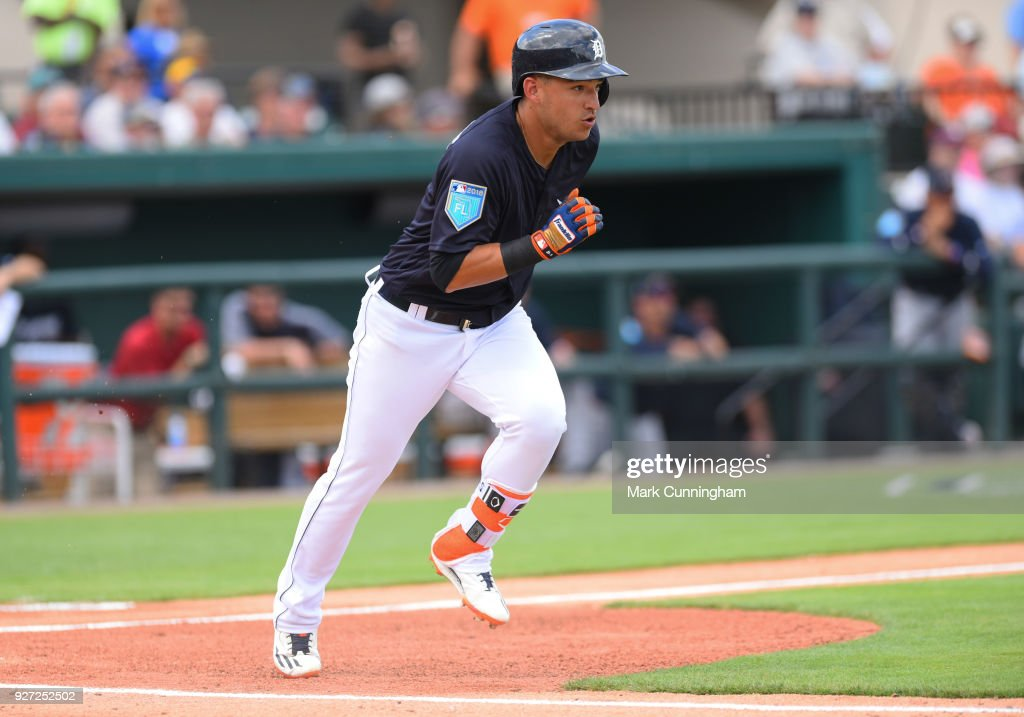 Jose Iglesias #1 of the Detroit Tigers runs to first base during the Spring Training game against the Atlanta Braves at Publix Field at Joker Marchant Stadium on March 1, 2018 in Lakeland, Florida. The Braves defeated the Tigers 5-2.