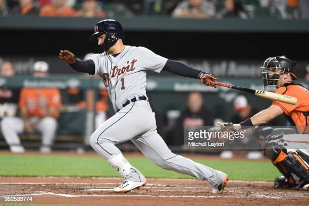 Jose Iglesias of the Detroit Tigers singles to start the second inning during a baseball game against the Baltimore Orioles at Oriole Park at Camden...