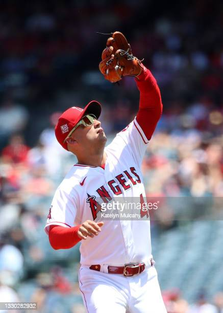 Jose Iglesias of the Los Angeles Angels catches a pop up ball during the first inning against the Seattle Mariners at Angel Stadium of Anaheim on...