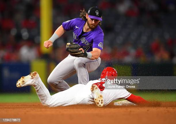 Jose Iglesias of the Los Angeles Angels is tagged out by Brendan Rodgers of the Colorado Rockies at second base as he is caught stealing in the...