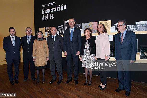 Jose Ignacio Wert and Prince Felipe of Spain attend 'La generacion del 14 Ciencia y Modernidad' Exhibition Opening at Biblioteca Nacional on March 13...