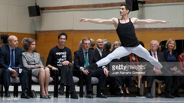 Jose Ignacio Wert Queen Sofia of Spain and Jose Carlos Martinez visit the National Dance Company at National Dance Company on February 24 2014 in...