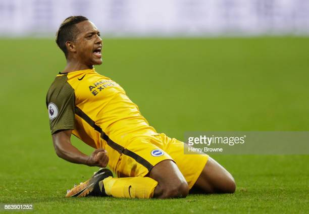 Jose Izquierdo of Brighton and Hove Albion celebrates as he scores their second goal during the Premier League match between West Ham United and...