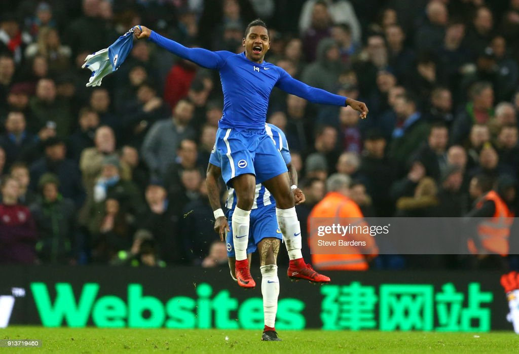 Jose Izquierdo of Brighton and Hove Albion celebrates scoring his side's second goal during the Premier League match between Brighton and Hove Albion and West Ham United at Amex Stadium on February 3, 2018 in Brighton, England.