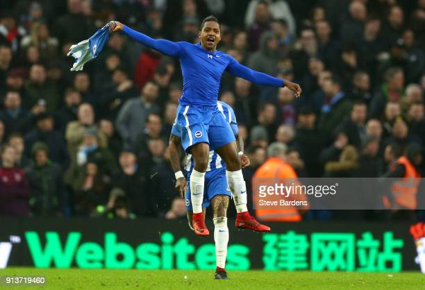 Jose Izquierdo of Brighton and Hove Albion celebrates scoring his side's second goal during the Premier League match between Brighton and Hove Albion...