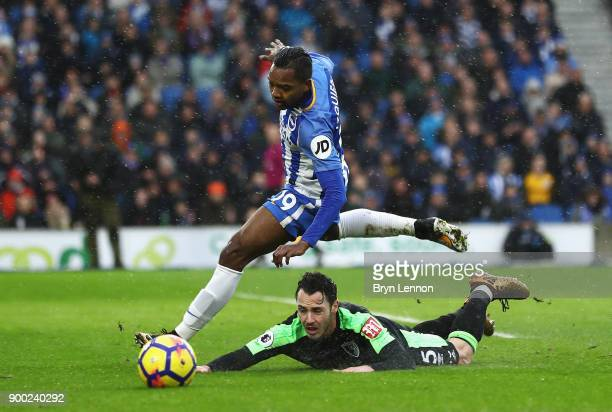 Jose Izquierdo of Brighton and Hove Albion challenges Adam Smith of AFC Bournemouth during the Premier League match between Brighton and Hove Albion...